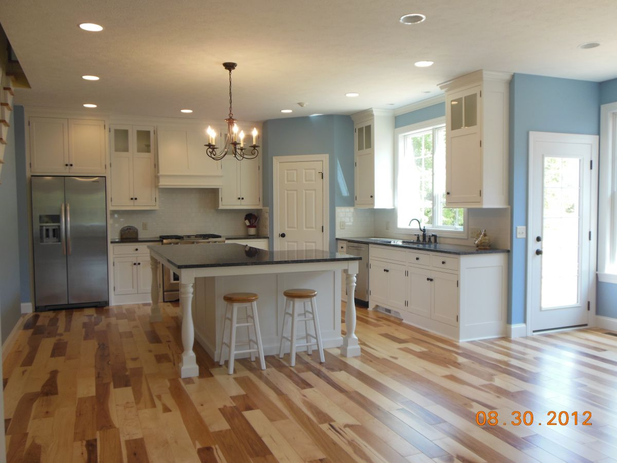Elegant Farmhouse Kitchen Tiffany Blue And White Cabinets